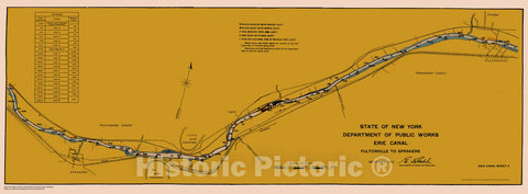 Historic Nautical Map - State Of New York Department Of Public Works Erie Canal, NY, 1923 NOAA Chart - Vintage Wall Art, v5