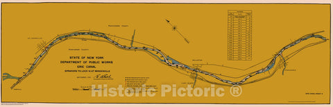 Historic Nautical Map - State Of New York Department Of Public Works Erie Canal, NY, 1923 NOAA Chart - Vintage Wall Art, v4