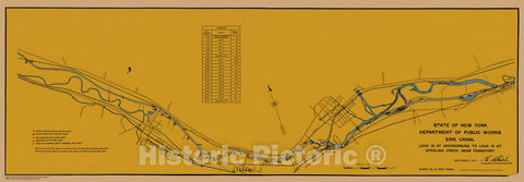 Historic Nautical Map - State Of New York Department Of Public Works Erie Canal, NY, 1923 NOAA Chart - Vintage Wall Art, v2