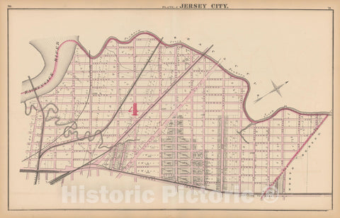 Historic Map : Combined Atlas State of New Jersey & The County of Hudson, Jersey City 1873 Plate J , Vintage Wall Art