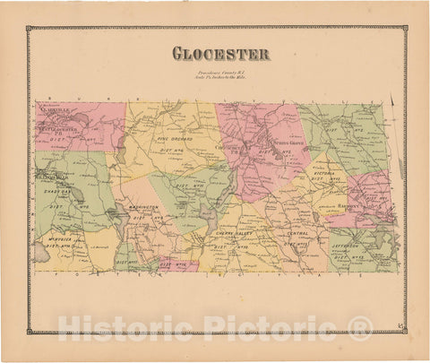 Historic Map : Atlas State of Rhode Island, Glocester 1870 , Vintage Wall Art