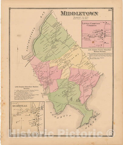 Historic Map : Atlas State of Rhode Island, Adamsville & Little Compton & Middletown 1870 , Vintage Wall Art