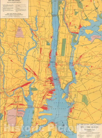 Historic Map : New York, New York Harbor Terminals 1956 , Nirenstein's National Preferred Real Estate Locations of Business Properties , Vintage Wall Art