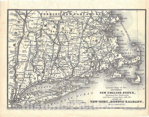 Historic Map : Railroad Maps of the United States, Connecticut & Massachusetts & Rhode Island 1848 , Vintage Wall Art