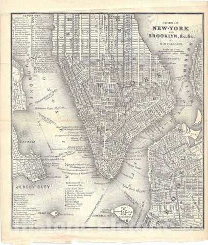 Historic Map : Railroad Maps of the United States, Brooklyn & New York City 1848 , Vintage Wall Art