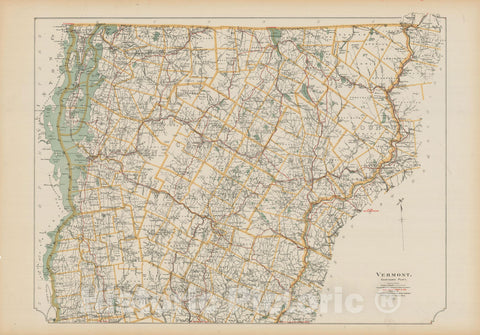 Historic Map : Vermont 1905 , Northeast U.S. State & City Maps , v2, Vintage Wall Art