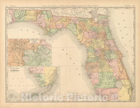 Historic Map : United States Maps, Florida 1894 , Vintage Wall Art