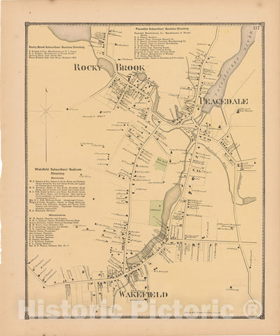 Historic Map : Atlas State of Rhode Island, Peacedale & Rocky Brook & Wakefield 1870 , Vintage Wall Art