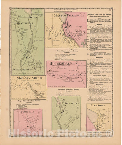 Historic Map : Atlas State of Rhode Island, Graniteville & Manton Village 1870 , Vintage Wall Art