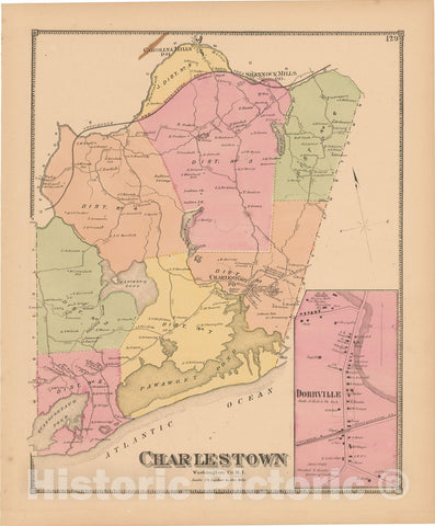Historic Map : Atlas State of Rhode Island, Charlestown 1870 , Vintage Wall Art