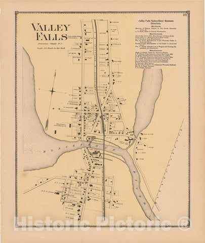 Historic Map : Atlas State of Rhode Island, Valley Falls 1870 , Vintage Wall Art