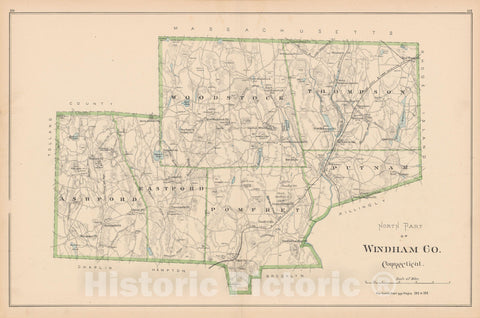Historic Map : Windham 1893 , Town and City Atlas State of Connecticut , v2, Vintage Wall Art