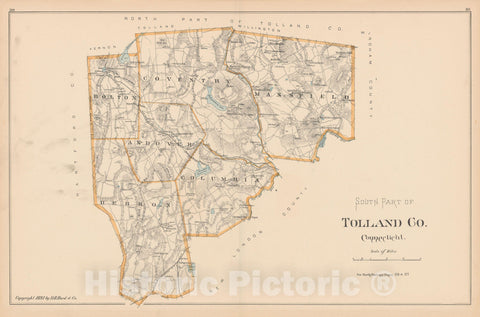 Historic Map : Tolland 1893 , Town and City Atlas State of Connecticut , v2, Vintage Wall Art