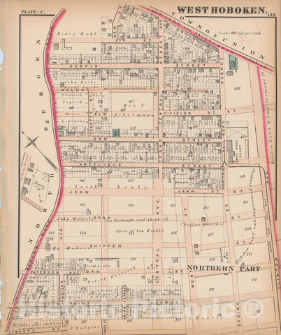 Historic Map : Combined Atlas State of New Jersey & The County of Hudson, West Hoboken 1873 Plate C , Vintage Wall Art