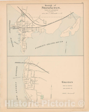Historic Map : Groton & Stonington 1893 , Town and City Atlas State of Connecticut , Vintage Wall Art