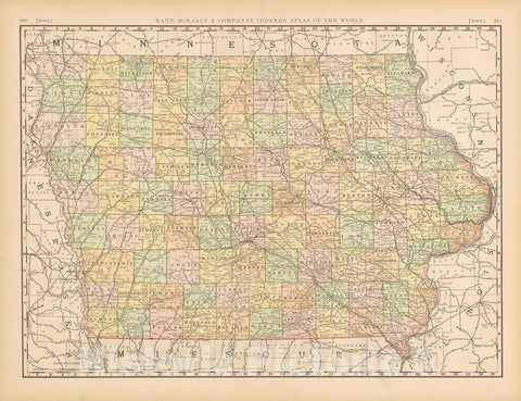 Historic Map : United States Maps, Iowa 1894 , Vintage Wall Art