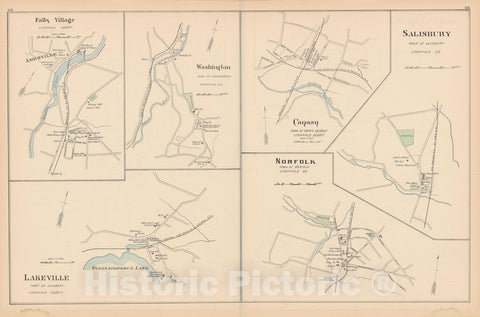 Historic Map : Norfolk & North Canaan & Salisbury & Washington 1893 , Town and City Atlas State of Connecticut , Vintage Wall Art