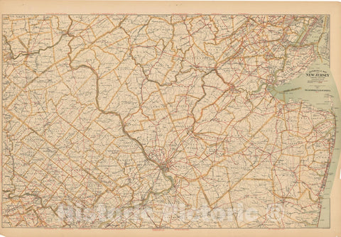 Historic Map : New Jersey 1900 , Northeast U.S. State & City Maps , v2, Vintage Wall Art