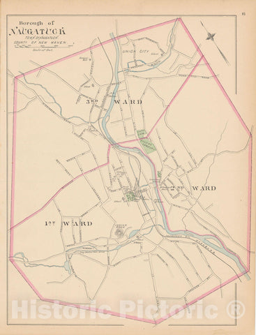Historic Map : Naugatuck 1893 , Town and City Atlas State of Connecticut , Vintage Wall Art