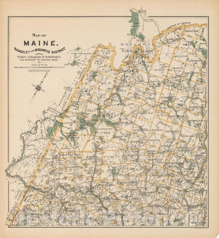 Historic Map : Maine 1909 , Northeast U.S. State & City Maps , Vintage Wall Art
