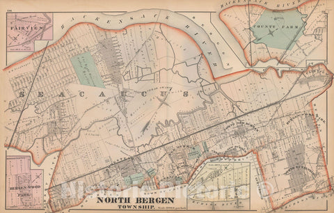 Historic Map : Combined Atlas State of New Jersey & The County of Hudson, North Bergen 1873 , Vintage Wall Art
