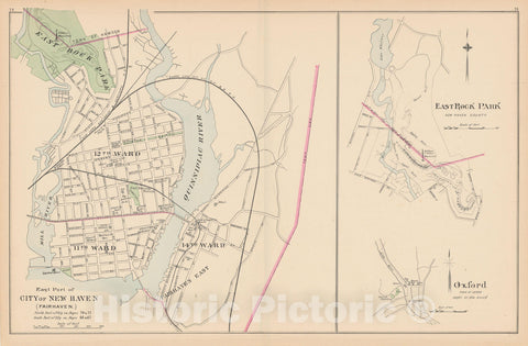 Historic Map : New Haven & Oxford 1893 , Town and City Atlas State of Connecticut , Vintage Wall Art