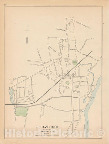Historic Map : Stratford 1893 , Town and City Atlas State of Connecticut , Vintage Wall Art