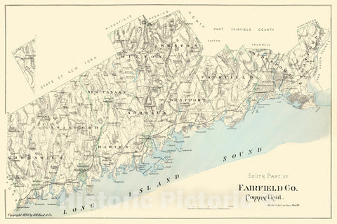 Historic Map : Fairfield 1893 , Town and City Atlas State of Connecticut , v2, Vintage Wall Art