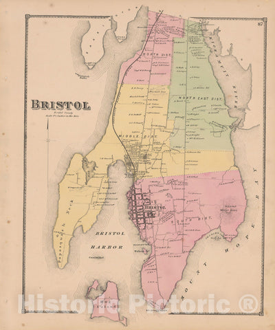 Historic Map : Atlas State of Rhode Island, Bristol 1870 , Vintage Wall Art