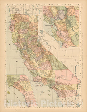 Historic Map : United States Maps, California 1894 , Vintage Wall Art