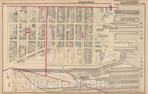 Historic Map : Combined Atlas State of New Jersey & The County of Hudson, Hoboken 1873 Plate B , Vintage Wall Art
