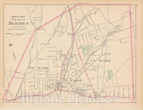 Historic Map : Meriden 1893 , Town and City Atlas State of Connecticut , v2, Vintage Wall Art