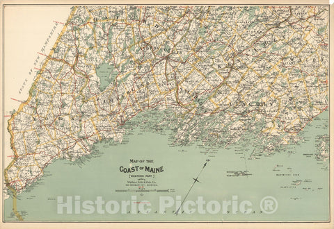 Historic Map : Maine 1910 , Northeast U.S. State & City Maps , Vintage Wall Art
