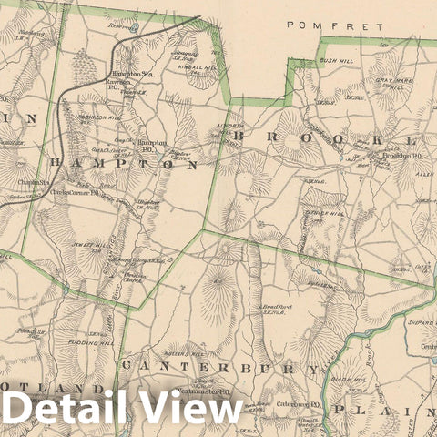 Historic Map : Windham 1893 , Town and City Atlas State of Connecticut , Vintage Wall Art