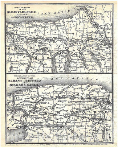Historic Map : Railroad Maps of the United States, Upstate New York 1848 , Vintage Wall Art
