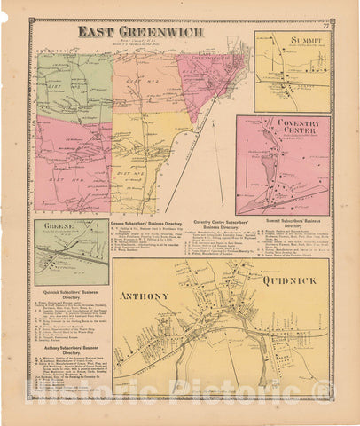 Historic Map : Atlas State of Rhode Island, Anthony & Coventry & East Greenwich & Quidneck 1870 , Vintage Wall Art