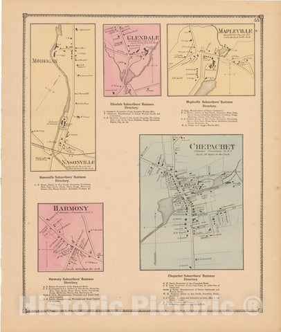 Historic Map : Atlas State of Rhode Island, Chepachet & Harmony & Mapleville 1870 , Vintage Wall Art