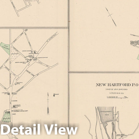 Historic Map : New Hartford & New Milford & Plymouth & Thomaston & Woodbury 1893 , Town and City Atlas State of Connecticut , Vintage Wall Art