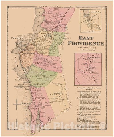 Historic Map : Atlas State of Rhode Island, East Providence 1870 , Vintage Wall Art