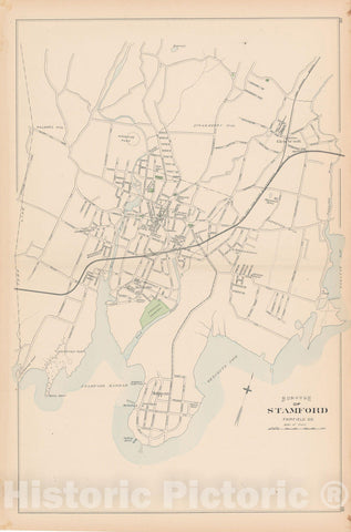 Historic Map : Stamford 1893 , Town and City Atlas State of Connecticut , Vintage Wall Art