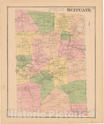 Historic Map : Atlas State of Rhode Island, Fiskville & Scituate 1870 , Vintage Wall Art