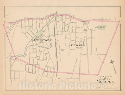 Historic Map : Meriden 1893 , Town and City Atlas State of Connecticut , Vintage Wall Art
