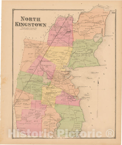 Historic Map : Atlas State of Rhode Island, North Kingstown 1870 , Vintage Wall Art