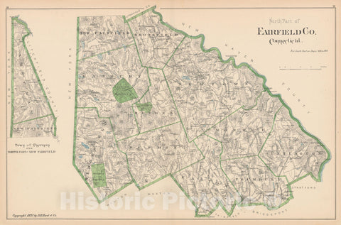 Historic Map : Fairfield 1893 , Town and City Atlas State of Connecticut , Vintage Wall Art