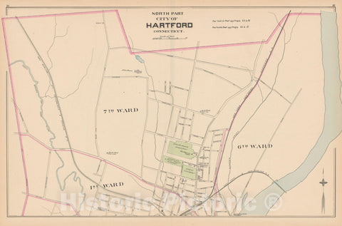 Historic Map : Hartford 1893 , Town and City Atlas State of Connecticut , v5, Vintage Wall Art