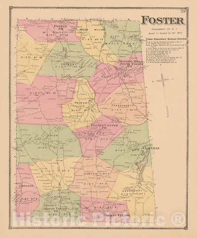 Historic Map : Atlas State of Rhode Island, Foster 1870 , Vintage Wall Art