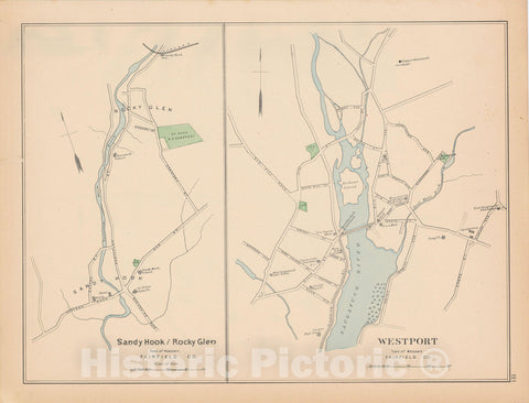 Historic Map : Newtown & Westport 1893 , Town and City Atlas State of Connecticut , Vintage Wall Art