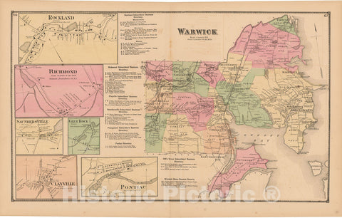 Historic Map : Atlas State of Rhode Island, Clayville & Rockland & Warwick 1870 , Vintage Wall Art
