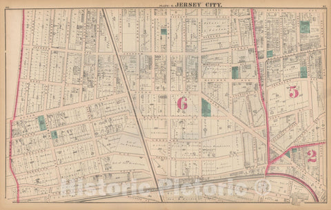 Historic Map : Combined Atlas State of New Jersey & The County of Hudson, Jersey City 1873 Plate O , Vintage Wall Art