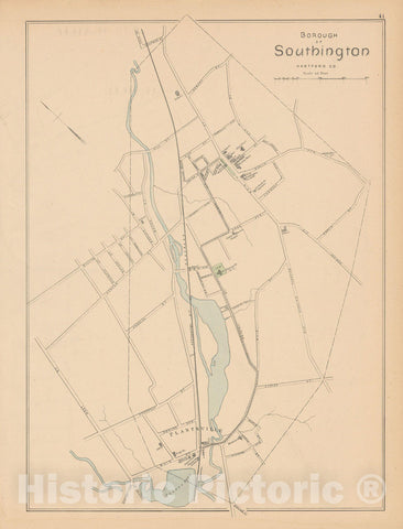 Historic Map : Southington 1893 , Town and City Atlas State of Connecticut , Vintage Wall Art
